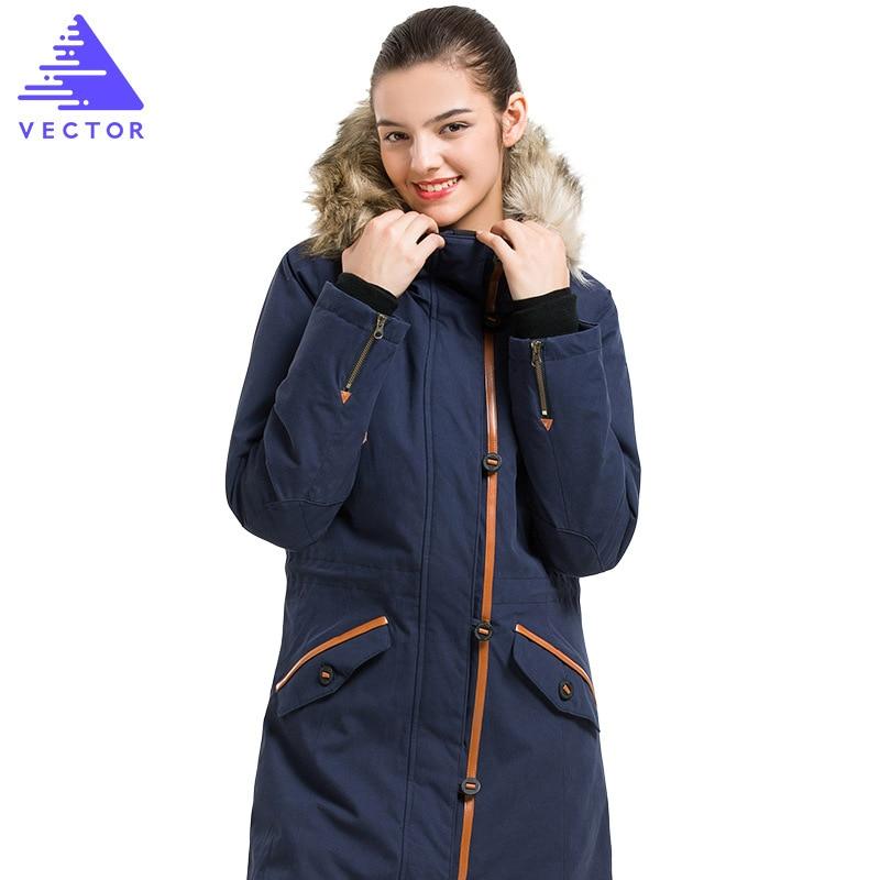 VECTOR Winter Outdoor Hooded Coats Jacket Female Long Sleeve Zip Long Jackets Ladies Winter Outerwear Windbreakers Hiking Jacket
