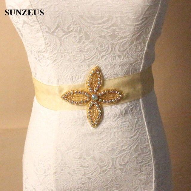 Beaded Bling for Sash Handmade Gorgeous Long Gold Wedding Belts Bridal Accessories Belt Flower Model Beaded S526