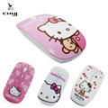 4 patrón de hello kitty nuevo mini lindo delgado ultrafino mause óptico 2.4 Ghz Ratón Inalámbrico Para Ordenador PC Lovely Girl regalo