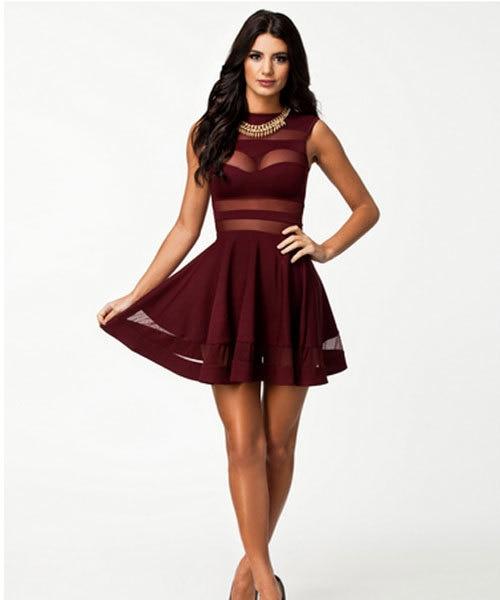 fashion ladies best offer chic sexy pleated dress women mesh cut