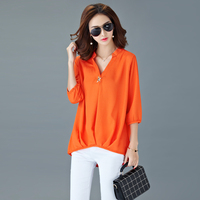 S 5xl Plus Size Women Blouses 2017 Spring Summer New Women Casual 3 4 Sleeve V