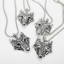 Viking amulet  nordic rune odin raven wolf head pendant necklace with gift bag Retro Men's Accessories running with raven