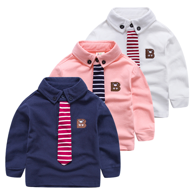 The boy Lapel long sleeved T-shirt 2017 spring new small Tong embroidery long sleeved polo shirt on children's leisure