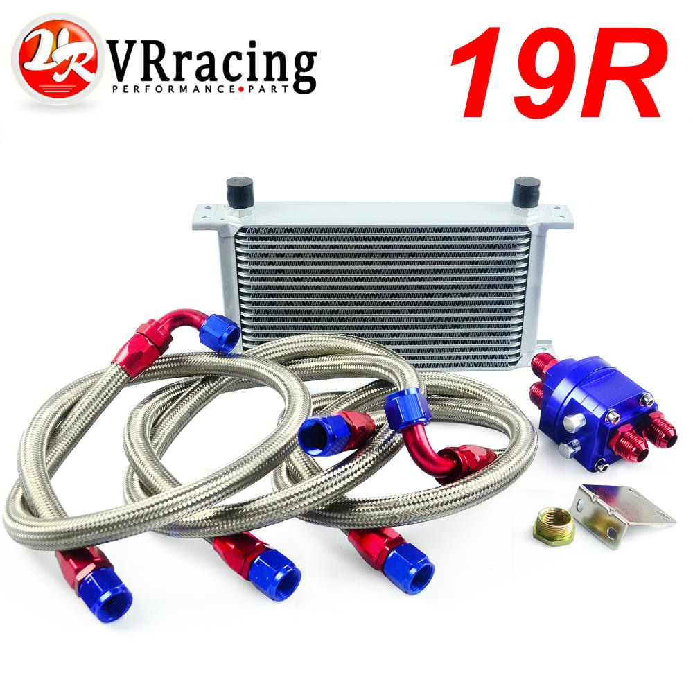 VR RACING - UNIVERSAL 19 ROW AN10 ENGINE TRANSMISS OIL COOLER KIT +FILTER RELOCATION BLUE VR7019S+6724BR+3PCS special offer 10an aluminum engine transmission 7 row oil cooler kits with filter relocation kit