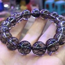 Genuine Natural Black Rutilated Quartz Bracelets AAAAA 12mm Transparent Crystal Round Beads Bracelet For Women Men
