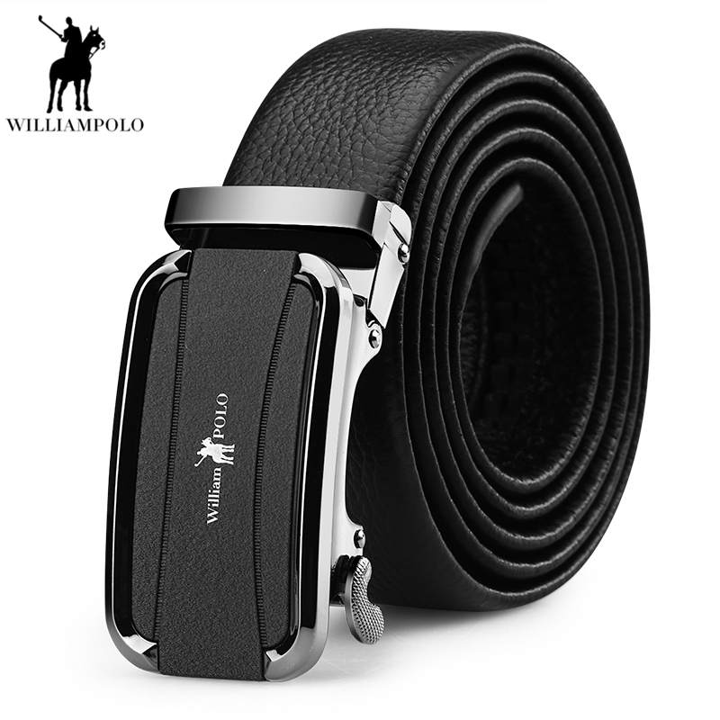 WilliamPolo Fashion Designers Men Automatic Buckle Leather mens belts luxury Business Male Alloy buckle Belt for Men PL18188P