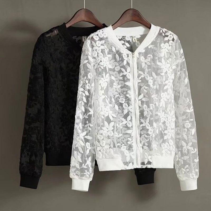 2017 nueva summer casual mujeres chaqueta de abrigo de organza negro floral blan