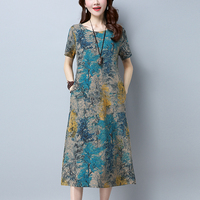 New Summer Cotton Linen Maxi Dress Women O Neck Short Sleeve Loose Pockets Print Dresses Plus