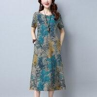 New Summer Cotton Linen Maxi Dress Women O Neck Short Sleeve Loose Pockets Print Dresses Plus