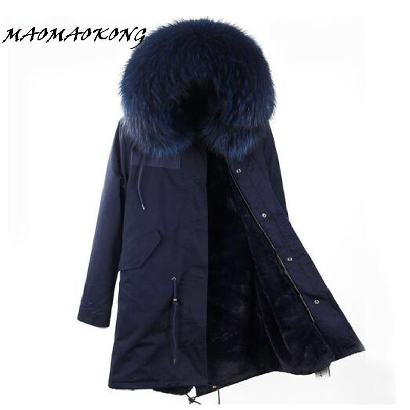 Brand 2017 Women Winter Jacket Long Detachable Lining navy blue Parkas Large Real Raccoon Fur Hooded Coat Outwear
