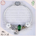 Beautiful European Popular Green And White Silver Flower Design Charms  925 Real Silver  Bracelet With Heart Clasp
