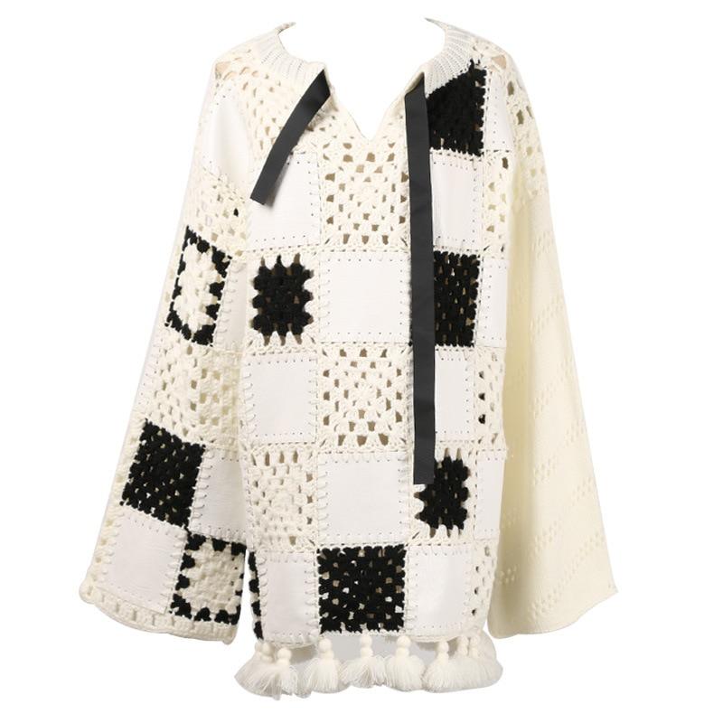 678d7ed7971 Noël Gy2018387 Long Blanc Streetwear De Automne Creux Up Gruiiceen Tricot  Pulls Chandail Out À Mode ...