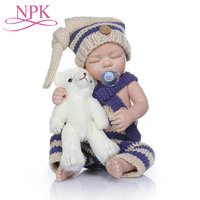 Christmas Gifts 49CM Dolls Mini Reborn Baby Boy Hot Sale Blue Knit Jumpsuits Blonde Hair Wigs Soft Silicone Dolls Dropshipping