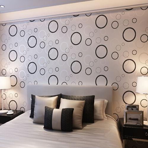 ФОТО Vinyl Wallpaper Wall Wallpaper Circle for Kids Room Bedroom TV Wall Backsplash Black White Wallpaper for Walls 3 D