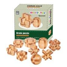 9 шт./лот 3D Экологичные бамбука Деревянные игрушки IQ Логические Burr взрослых головоломки образования детей разблокировки Игры