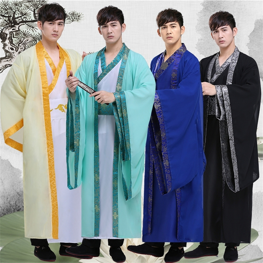 Men Hanfu Adult Traditional Chinese Clothing Folk Dance Ancient Costume Stage Performance Singers Tang Suit Festival Outfit