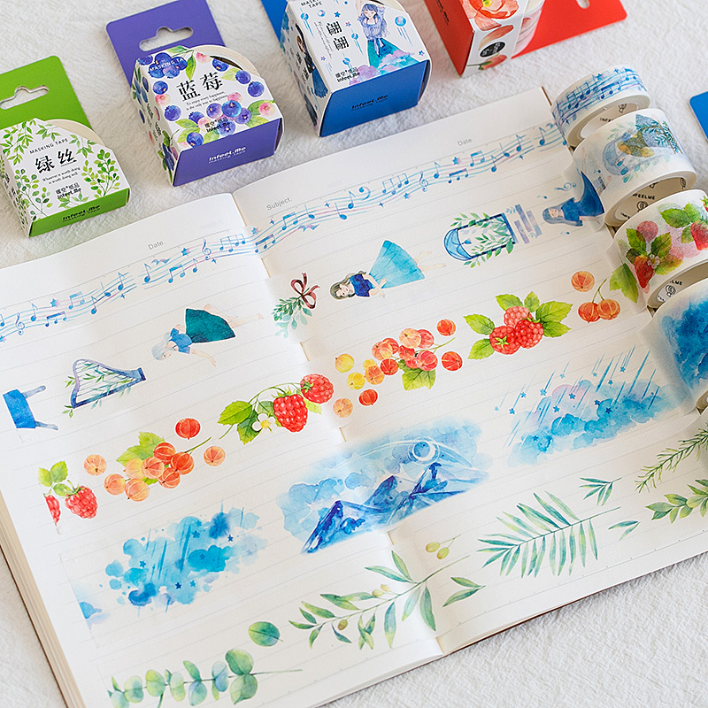 Raindrop Flowers Plants Washi Tape Adhesive Tape Diy Scrapbooking Sticker Label Masking Tape