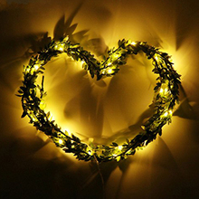 3m 5m Green Leaves garland Christmas lights LED fairy warm lights Battery for holiday Xmas indoor home bedroom decoration lights string lights new 1 5m 3m 6m fairy garland led ball waterproof for christmas tree wedding home indoor decoration battery powered