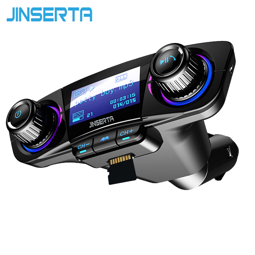JINSERTA Power ON OFF Bluetooth 5.0 FM Transmitter Modulator Handsfree Car Kit TF USB Music AUX Audio MP3 Player executive car