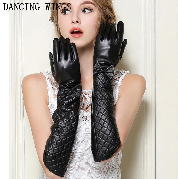 Female Fashion Elegant Bow Plaid Long Sheepskin Gloves Full Finger Genuine Leather Arm Warmers Winter Gloves