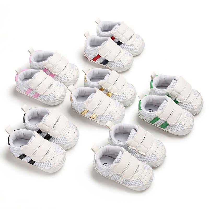 חדש לפעוטות ילדי נעלי רשת פסים תיקון וו בלעדי 0-18 חודשים רך עריסה יילוד תינוק תינוקות ספורט מקרית Sneaker