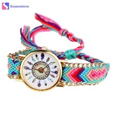 Vintage Nation Wind Women Braided Weaving Lady Bracelet Watches Table Feather Pa