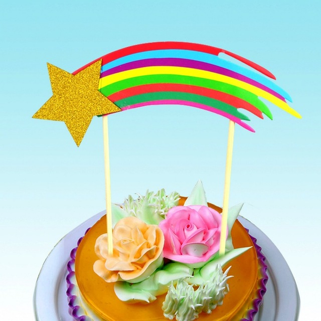 DIY Rainbow Happy Birthday Cake Topper Flags With Star Wedding Party