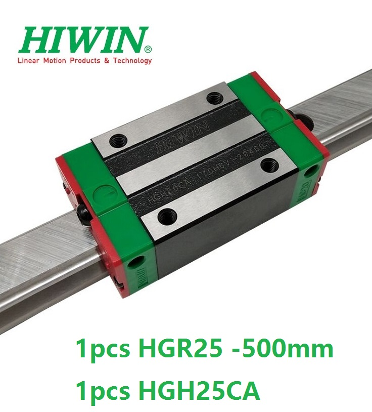 все цены на 1pcs 100% original Hiwin linear guide HGR25 -L 500mm + 1pcs HGH25CA linear narrow block for cnc router онлайн