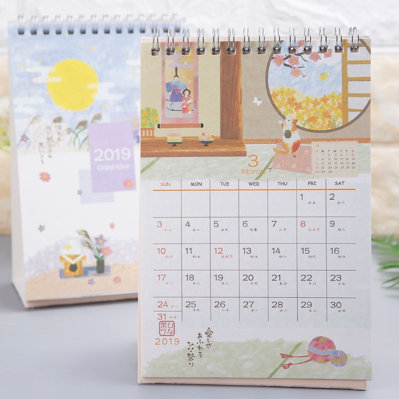 Herzhaft Japanischen Stil 2019 Desktop Stehenden Spule Papier Kalender Memo Täglichen Zeitplan Tisch Planer Jährlich Agenda Organizer Gute Begleiter FüR Kinder Sowie Erwachsene Office & School Supplies