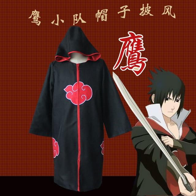 Disfraces Cosplay Naruto akatsuki capa con sombrero equipo halcón Sasuke  uchiha traje ropa de fiesta de 6b4f8f4b300