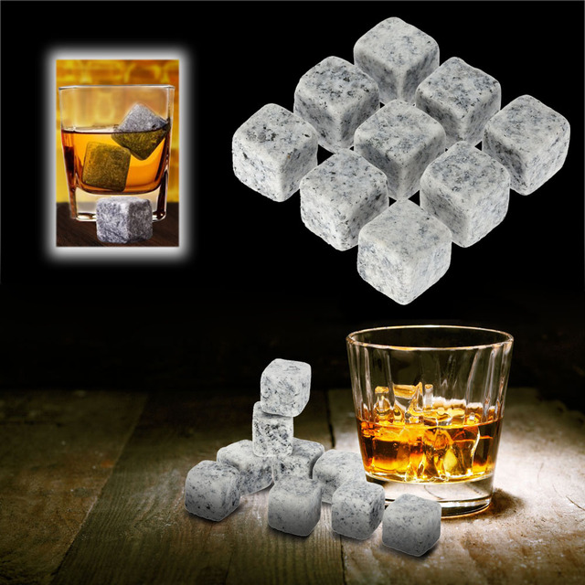 9pcs/pack 18mm Whisky Ice Stones Drinks Cooler Cubes Beer Rocks Granite with Pouch 3 Colors Opitonal