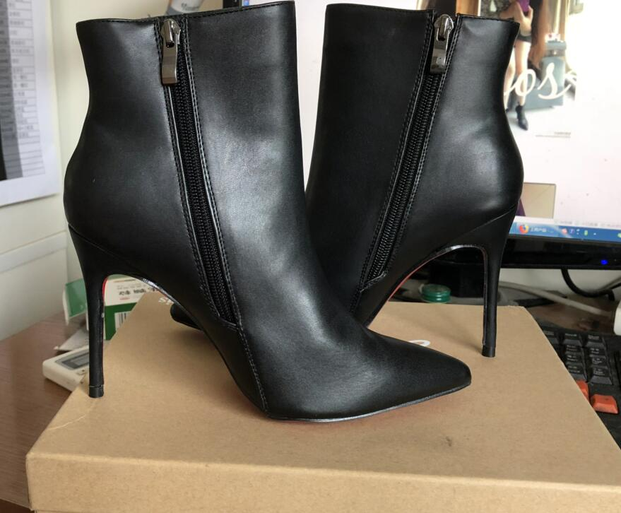 2018 Red Bottom High Heel Boots Women Autumn Winter Fashion Ankle Boots Black Matte Pointed Toe Women Shoes Sexy Zipper Bottes gaozze autumn ankle boots for women 2017 new sexy thin high heeled boots women side zipper fashion pointed toe shoes red boots