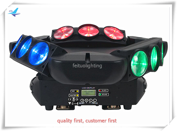 free shipping 4pcs/lot Mini Spider 9x12w Beam Moving Head DJ Light RGBW 4IN1 3 Heads Triangel LED Sound Active Show Disco Lights