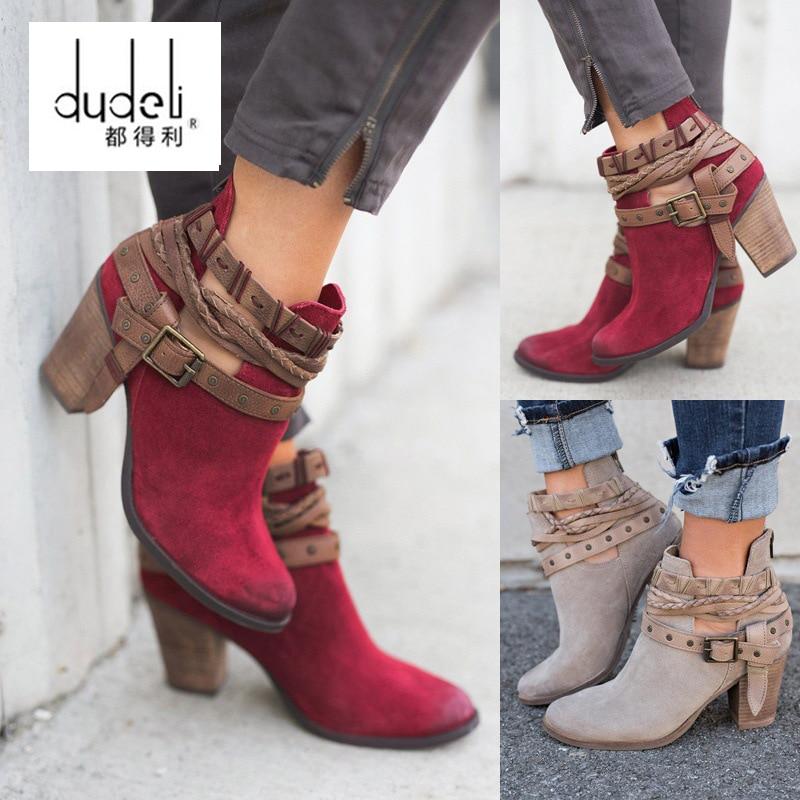 Mujer Otoño Zapatos Diarios Primavera rojo Remache Botas De Negro Tacones Dudeli Pu Hebilla gris Cuero Para Mujeres Moda Altos qx4CwHS