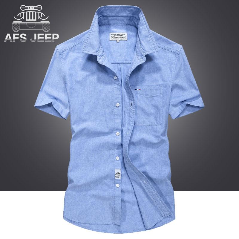 Men's Clothing Plus Size M-5xl 2018 Summer Mens Casual Brand Short Sleeve Shirt Man 100% Pure Cotton Afs Jeep Khaki Shirts Army Green Clothing Casual Shirts