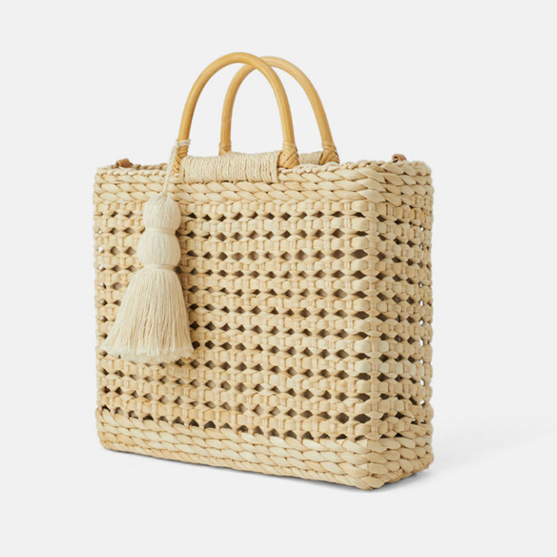 Summer Women Straw Beach Handbags Large Capacity Ladies Weave Shoulder Bag Fashion Tassel Hollow Out Female Messenger Tote Bags