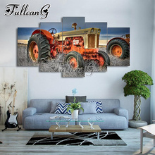 FULLCANG 5pcs diamond painting farm tractor diy full square dirll rhinestone cross stitch mosaic embroidery set hobby G1001