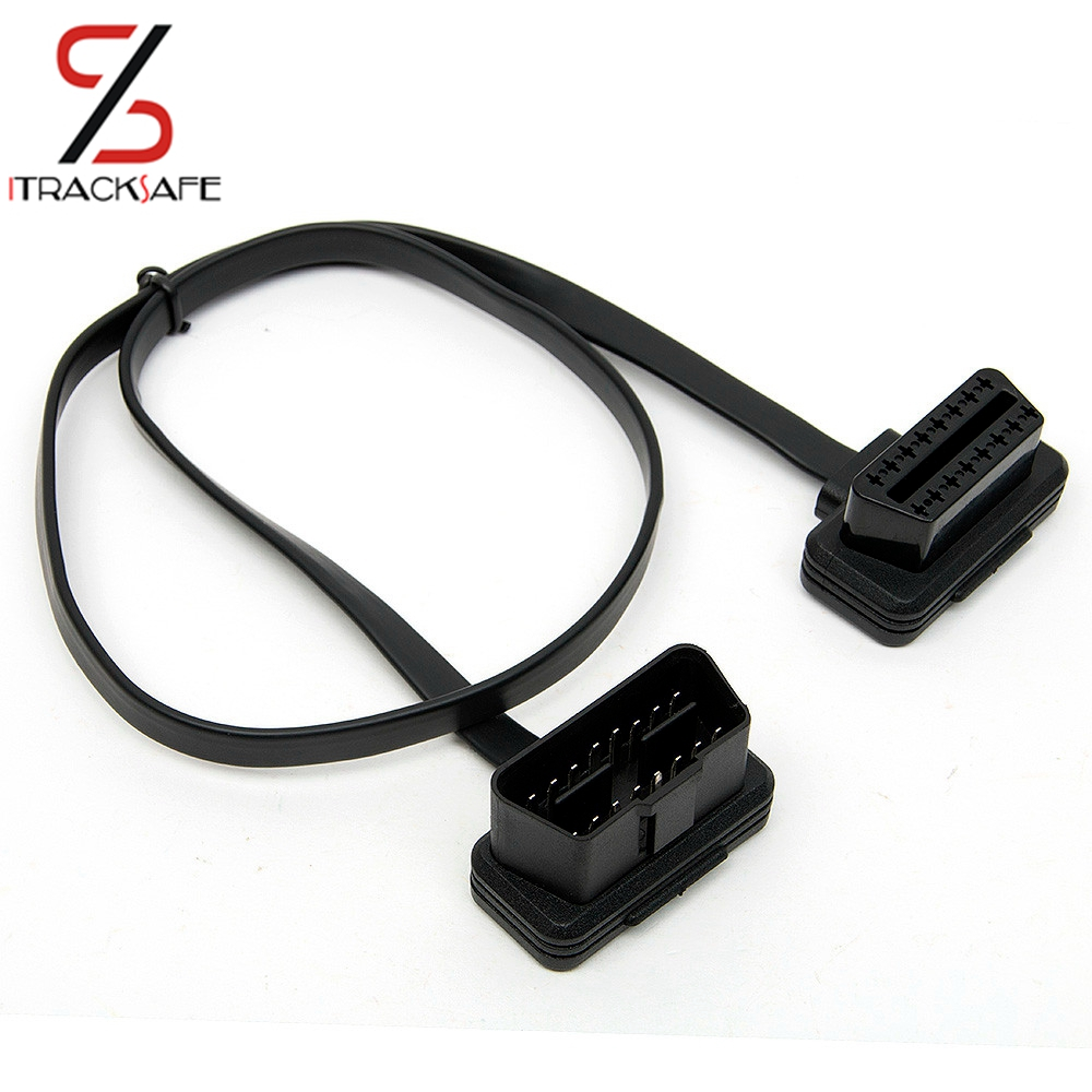 Flat Thin som Nudel OBD 2 II OBDII OBD2 16 Pin Man till Female ELM327 Diagnostisk Extension Cable Wire Connector Adapter