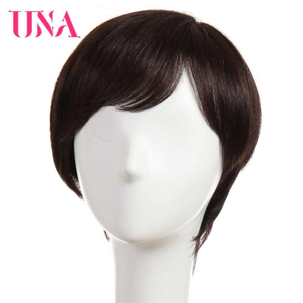 "UNA Human Hair Wigs For Women Non-Remy Human Hair 150% Density Peruvian Straight Human Hair Wigs Machine Hair Wigs 6"" 11 Colors"
