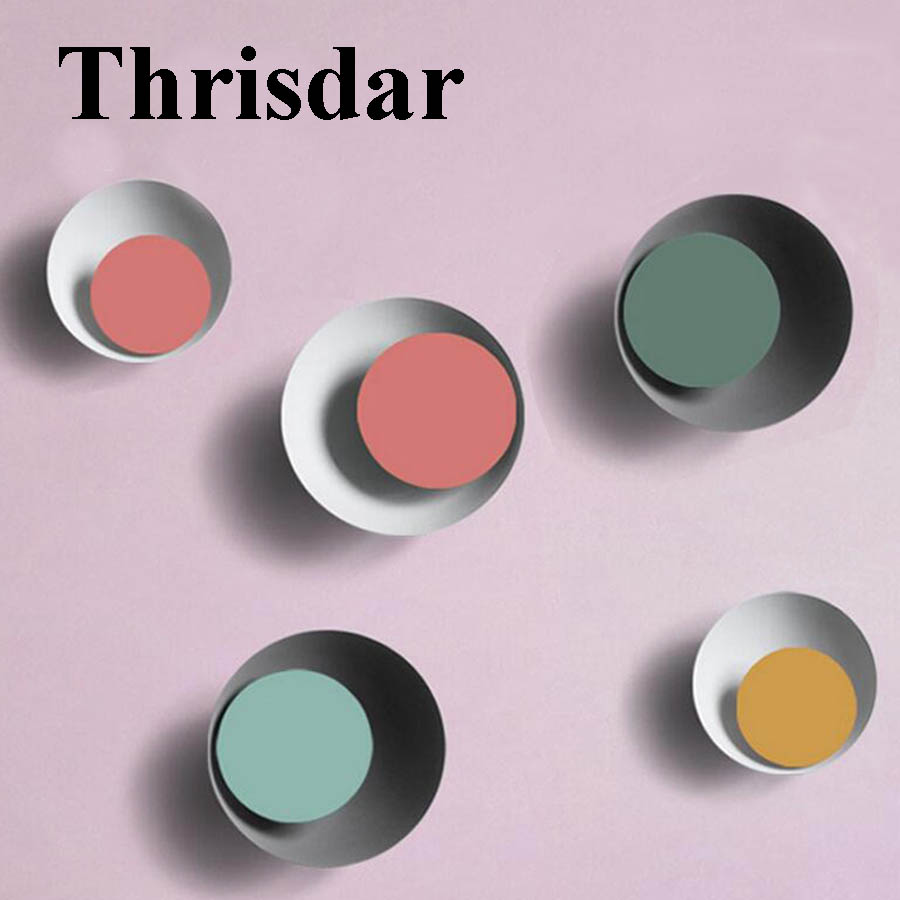 Thrisdar Simple Nordic Creative LED Wall Lamp Personality Eclipse Macaron Restaurant Pub cafe Hotel Aisle Corridor Wall Light light the mediterranean restaurant in front of the hotel cafe bar small aisle entrance hall creative pendant light df57