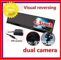 4.3 зеркало заднего вида GPS DVR ультра тонкий W кнопку touch hd двойной видеомагнитофон gps 3 оси g сенсор + + GPS локатор + H.264 Регистраторы