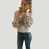 Jo Kalin 2017 New Autumn Winter Women Sweaters And Pullovers Sweet Mohair Sweater Ruffle Sleeves Female