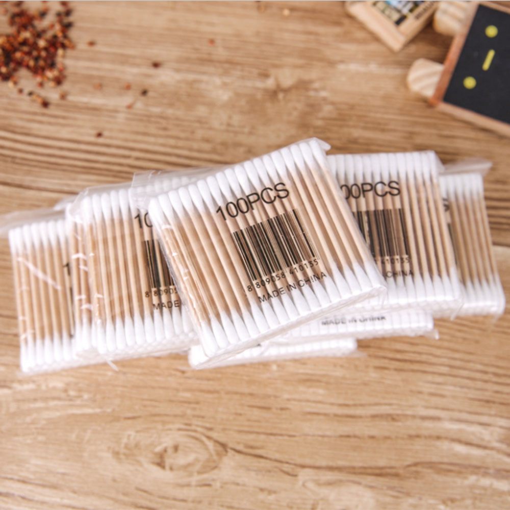 100pcs Double Head Cotton Swab Disposable Eyelash Cleaning Stick Removing Mascara Eyelashes Extension Nose Ears Clean Care Tools