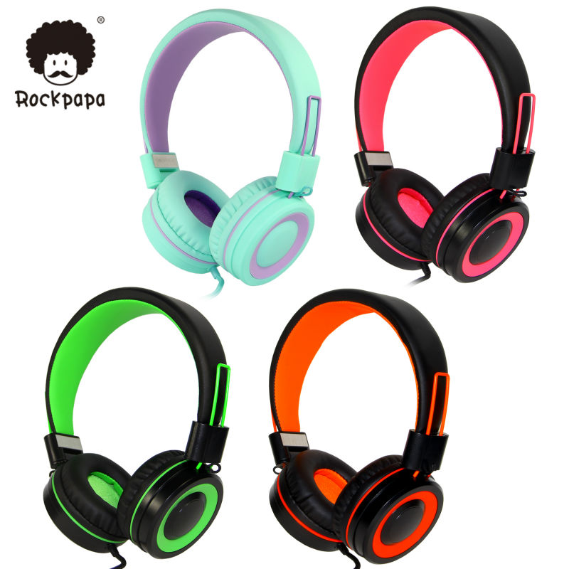 Rockpapa 882 Stereo Adjustable Foldable High Quality Kids Girls Boys Headphones with Mic for iPhone iPod