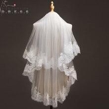 Voile Mariage 1.2 Meters Lace Edage Short Wedding Veil Tulle Ivory/White Bridal Veil Wedding Accessories Velos de Novia