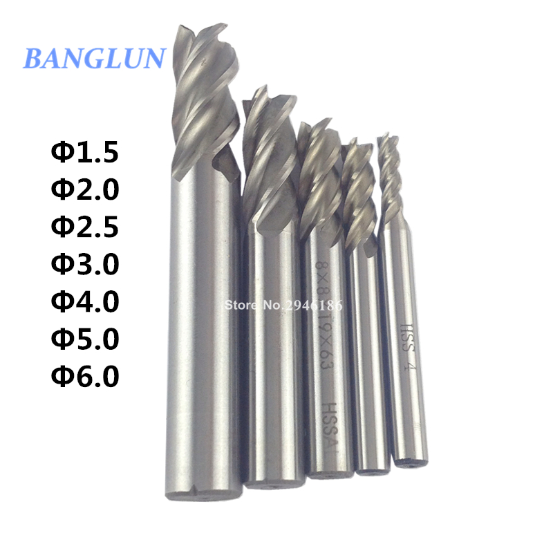 7Pcs Carbide End Mill HSS 4 Flutes 1.5 2 2.5 3 4 5 6mm Diameter Milling Cutter Straight Shank Router Bit Set CNC Tools агхора 2 кундалини 4 издание роберт свобода isbn 978 5 903851 83 6