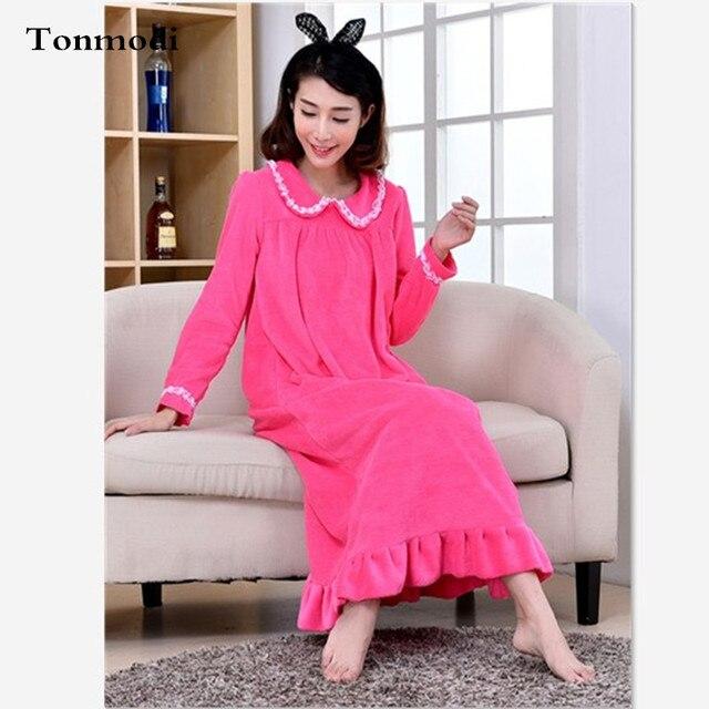 Nightdress For Women Long Sleeve Sleepwear Winter sleep Flannel Long nightgown Mink Cashmere nightshirt