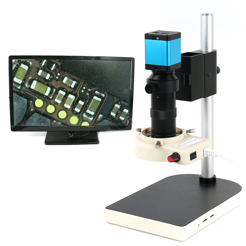 2.0MP 1080P TF Video Recorder HDMI Industrial Electronic Video Microscope Camera 100X C-Mount Lens For Lab Phone PCB Soldering hdmi vga output digital industry microscope 1080p video camera set 100x c mount lens 56 led ring light for phone pcb inspection