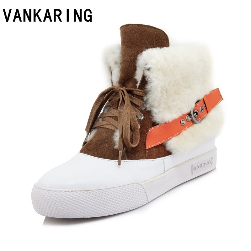 VANKARING brand fashion leather fur women ankle boots platform casual wedges round toe warm shoes woman winter snow boots women 2018 women snow white boots woman winter boots women fashion ankle boots warm fur women s shoes brand shoes zyw 996 2