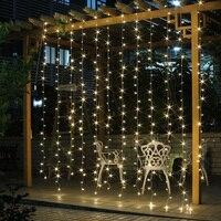 Romantic 3M X 3M 304Led Curtain String Lights EU 220V Christmas Garland Led Lights For Party